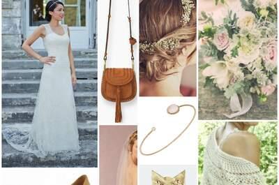 Look pour mariée bohème : une robe sublime et ses 10 accessoires !