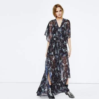 Credits : Maje. Rigane. Robe longue imprimée style kimono