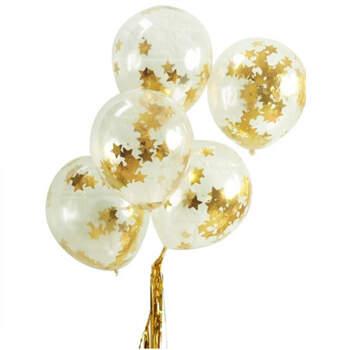 Globos estrella dorada 5 unidades - Compra en The Wedding Shop