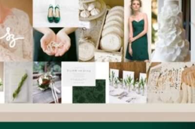 Collage de inspiración para decorar tu boda en color verde intenso