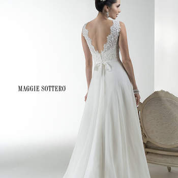"Flowing Mystique organza A-line gown with corded Alençon lace bodice, available with glittering Swarovski crystal grosgrain ribbon belt. Finished with zipper over inner elastic and covered button closure.  <a href=""http://www.maggiesottero.com/dress.aspx?style=4MS042BB"" target=""_blank"">Maggie Sottero Platinum 2015</a>"