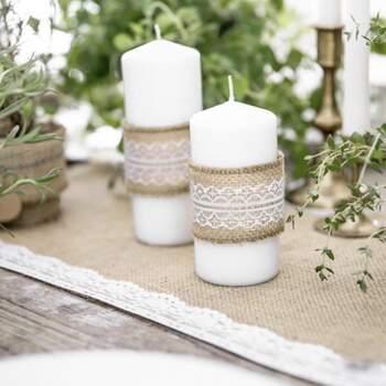 Ruban de jute avec dentelle blanche 5cm - The Wedding Shop !