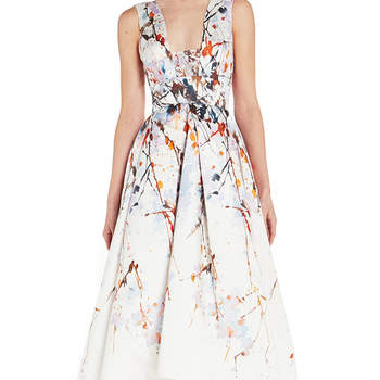 Splash print mikado tea length dress. Credits- Monique Lhuiller