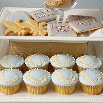 Cupcakes bleus et blancs Amy Atlas