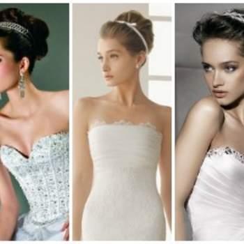 Selezione di acconciature cotonate per un look glamour e sofisticato. Da sinistra: Sophia Glamour, Demetrios, Rosa Clarà, Demetrios, Sophia Style.