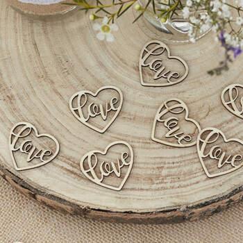 Decoraciones De Madera Love 24 unidades- Compra en The Wedding Shop
