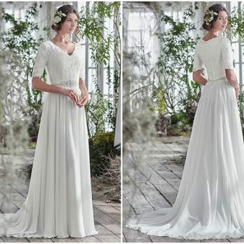 "Sophisticated with a touch of whimsy, this elegant A-line wedding dress offers a lace bodice, intricately beaded belt at the waist, and an ethereally lightweight Aurora chiffon skirt. Finished with a soft V-neckline, half length sleeve, and covered buttons over zipper and inner elastic closure.   <a href=""https://www.maggiesottero.com/maggie-sottero/lyliette/9772"" target=""_blank"">Maggie Sottero</a>"