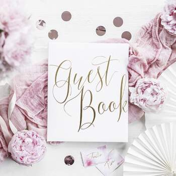 Livre D'or Élégant Blanc Et Or - The Wedding Shop !