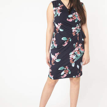 Navy Blue Hourglass Fit Floral Dress. Credits_ Evans