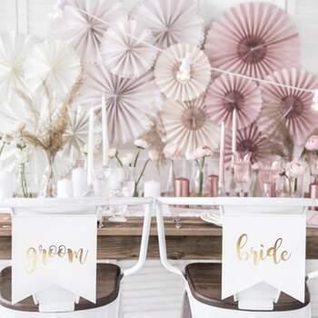 Décoration Bride And Groom Blanc Et Or - Achetez sur The Wedding Shop !