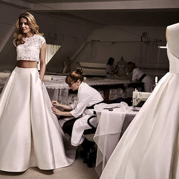 Passion 2016 Collection- Anya Lace Crop with Angelika Full Silk Skirt
