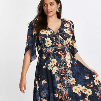 Scarlett _ Jo Navy Blue Floral Print Hanky Hem Dress, Evans