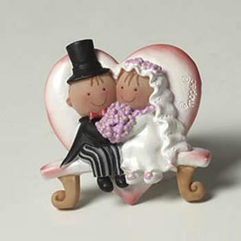 Imán novios en banco 12 unidades - Compra en The Wedding Shop