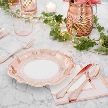 Cubiertos rosa gold 18 unidades