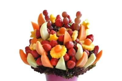 Decoração comestível: bouquets de fruta para o centro das mesas