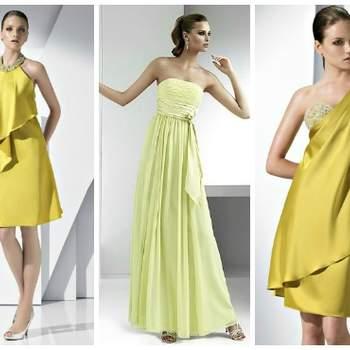 Giallo oro e giallo pallido per questi abiti da cerimonia di Pronovias