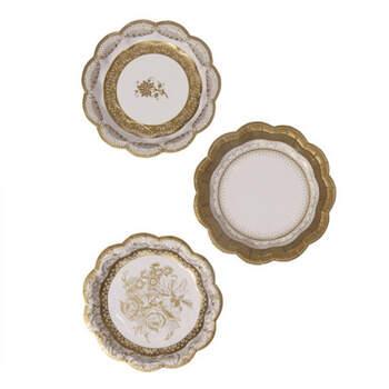 Platos oro dulce efecto porcelana 12 unidades- Compra en The Wedding Shop