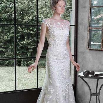 "The pinnacle of romance in found in this stunning wedding dress, accented with lace appliqués cascading down the bodice, adorning the sleeves, illusion neckline, and edging the hemline. A plunging back reveals an elegant glimpse of skin. Finished with covered buttons over zipper closure.  <a href=""http://www.maggiesottero.com/dress.aspx?style=5MW647"" target=""_blank"">Maggie Sottero</a>"