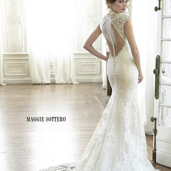 "Elegant lace, A-Line wedding dress complete with plunging illusion neckline, delicate lace sleeves, and illusion keyhole back. Finished with extended illusion train and covered button over zipper closure. Available with front snap-in modesty panel.  <a href=""http://www.maggiesottero.com/dress.aspx?style=5MC152"" target=""_blank"">Maggie Sottero Spring 2015</a>"