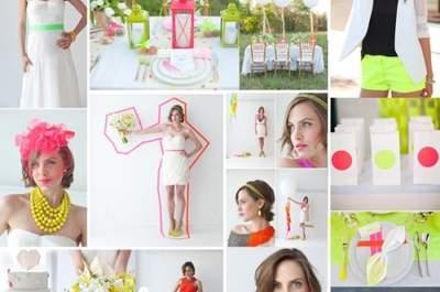 Collage de inspiración para tener una boda vibrante en color neón