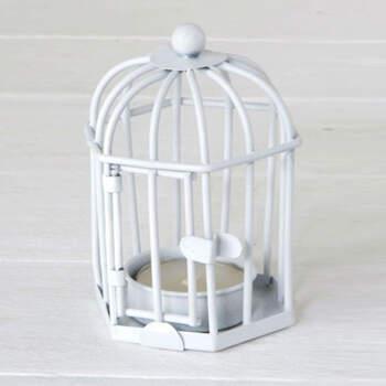 Gabbia porta candela bianca- Compra en The Wedding Shop