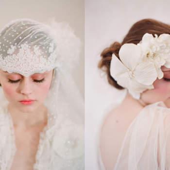 Coiffe et  voile à fermeture latérale et broche florale pour les cheveux. Photo : confesionesdeunaboda.blogspot.com