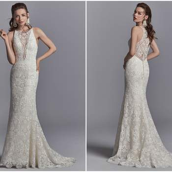 "Allover lace cascades down this sheath boho wedding gown, creating an illusion halter over plunging V-neckline and illusion open back. Finished with covered buttons over zipper closure.  <a href=""https://www.maggiesottero.com/sottero-and-midgley/zayn/11232?utm_source=zankyou&amp;utm_medium=gowngallery"" target=""_blank"">Sottero and Midgley</a>"