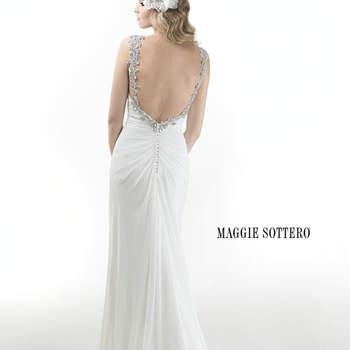 "Flowing Taunae chiffon cascades down this lightweight sheath dress with plunging neckline and twinkling Swarovski crystal treatment on shoulders, bust and backline. Swarovski crystals trail a zipper back closure.  <a href=""http://www.maggiesottero.com/dress.aspx?style=4MS993"" target=""_blank"">Maggie Sottero Platinum 2015</a>"