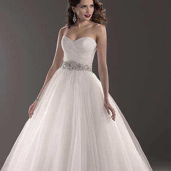 "A traditional ballgown gets a modern makeover with layers of sequin embellished tulle, cascading from a Swarovski crystal belt at the waistband. Available with signature corset back closure or zipper over inner corset back closure.  <a href=""http://www.maggiesottero.com/dress.aspx?style=3MD786LU"" target=""_blank"">Maggie Sottero Platinum 2015</a>"