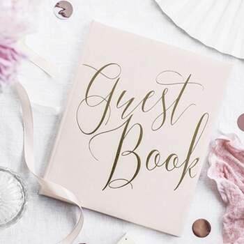 Livre D'or Élégant Rose Poudre Et Or - The Wedding Shop !