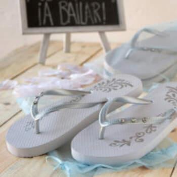 Tongs De Mariage En Argent Avec Sac Taille M - The Wedding Shop !