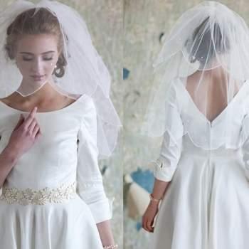 Vestido e veu para uma noiva vintage.