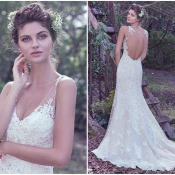 "Subtle romance and elegance is found in this ethereal sheath wedding dress made of tulle and bead embellished lace sparkling with Swarovski crystals. Lace details embellish illusion shoulders, a plunging V-neckline, and open illusion lace back. Finished with crystal buttons over zipper closure.   <a href=""https://www.maggiesottero.com/maggie-sottero/wynter/9698"" target=""_blank"">Maggie Sottero</a>"