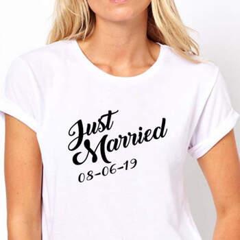 Camiseta Just Married mujer- Compra en The Wedding Shop