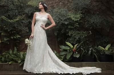 Vestidos de noiva com decote redondo 2017: destaque a sua beleza natural!