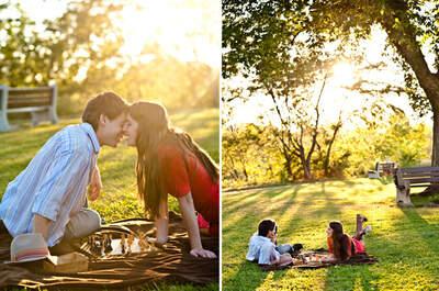 Clima de outono nas fotos pré-casamento: cenário perfeito