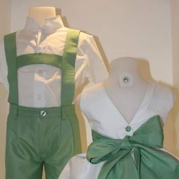 Ravissante robe crème et verte pour petite fille d'honneur.
