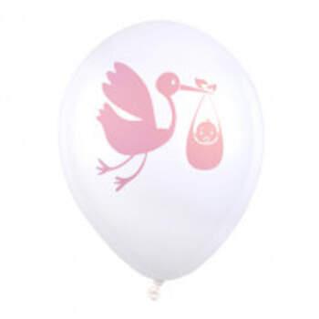 Ballons Cigogne Rose 8 Pièces - The Wedding Shop !