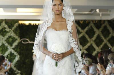 Filmreifer Auftritt – mit den dramatischen Brautschleiern von Oscar de la Renta