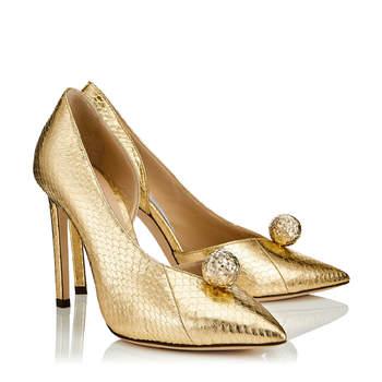 Chaussures de mariée dorées SADIRA 100, Jimmy Choo