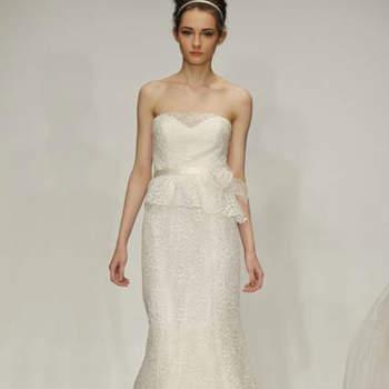 Vestido de noiva com saia peplum da colecção Christos Primavera 2013