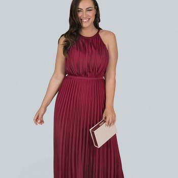 Chi Chi London Burgundy Pleated Maxi Dress, Evans