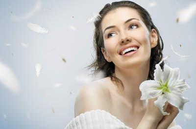 beauty flower girl on the blue background