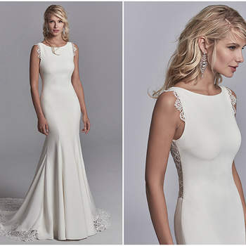"Exquisite lace motifs accent the illusion cutout train, straps, and illusion plunging back in this Chardon Crepe wedding dress. Complete with bateau neckline. Finished with covered buttons and back ruching along zipper closure.  <a href=""https://www.maggiesottero.com/sottero-and-midgley/elliott/11208?utm_source=zankyou&amp;utm_medium=gowngallery"" target=""_blank"">Sottero and Midgley</a>"