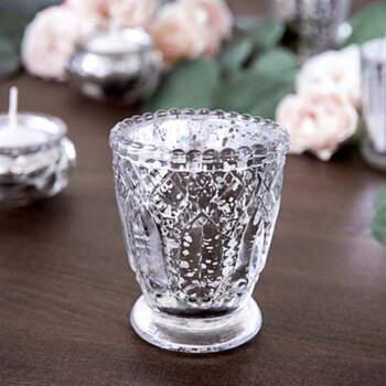Vidrio portavelas argento 4 pezzi- Compra en The Wedding Shop
