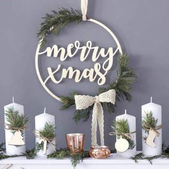 Merry Xmas decoración de madera- Compra en The Wedding Shop