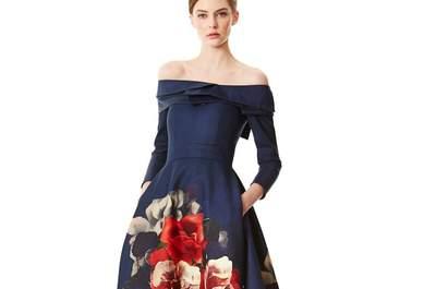 Carolina Herrera Pre Fall 2015: Vestidos de fiesta elegantes con estampados multitono y acentos divertidos