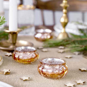 Candelabro de Cristal Rosa Dorado de 3 cm 4 unidades- Compra en The Wedding Shop
