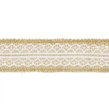 Cinta de Yute con Encaje Blanco 4 cm- Compra en The Wedding Shop