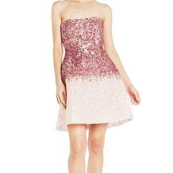 Strapless ombré sequin mini dress. Credits: Monique Lhuillier